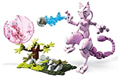 Buildable Mew and Mewtwo figures 2-inch Mew has articulated arms, legs, tail and head 6.5-inch Mewtwo with articulated body Buildable environment with battle effect detail Moveable, buildable power shield for Mew
