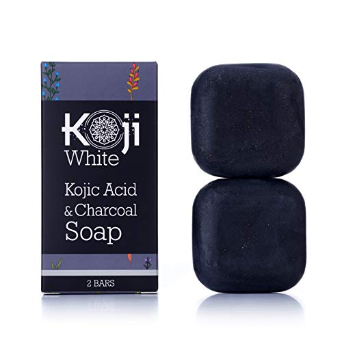 Koji White Kojic Acid & Charcoal Black Soap (2.82 oz / 2 Bars) - Brightening & Smoothing for Facial & Body - All Skin Type