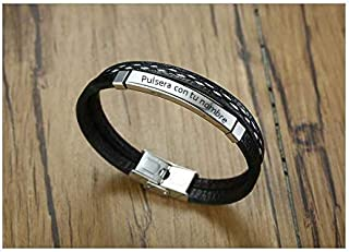 Pulsera Personalizada para Hombre y Mujer - Grabado en Diamante - Pulseras Personalizables de Acero Inoxidable y Cuero Regalo Nombre