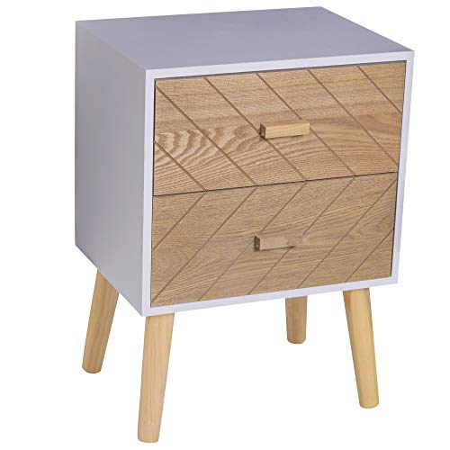 HOMCOM Nordic Style 2 Drawers Side Cabinet Wooden Bedside Table Storage Chest Scandinavian Home Furniture