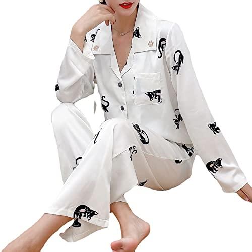 YDYBY Pijama para Mujer, Camisón de Manga Larga con Botones Conjunto de Pijama de Impresión de Gato Ropa de Dormir Loungewear Top+Cordón Pantalones,Blanco,S