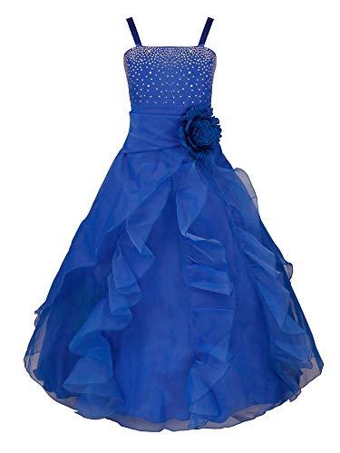 YiZYiF Vestido Fiesta Boda Niñas Vestido Ceremonia Largo Flores Vestido Elegante Princesa con Lentejuelas Traje Lujoso Maxi Comunión Noche 2-14 Años