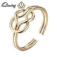 QIMING ゴールデンフィンガーリング女性の最小限のミニマ宝石 CZ クリスタルナックルリングセットのリングクリスタルリングii