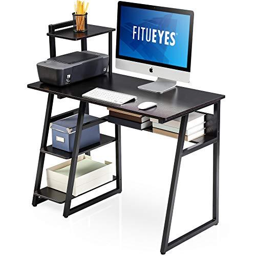 FITUEYES Computertisch mit Regalen Holz Schwarz Schreibtisch Workstation für Haus Büro 103x50,5x106cm CD210301WB