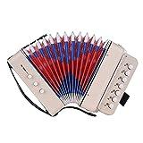 El juguete de acordeón de 14 nota es compatible con los acordes de bajos, viene con un paño de limpieza, un instrumento y un mini 10 botones