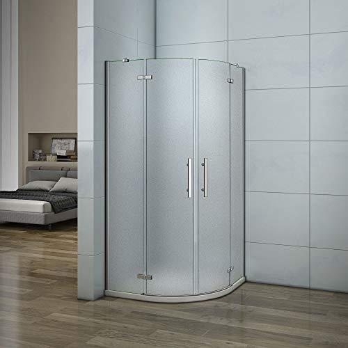 Aica box doccia 80x80x195cm semicircolare porta battente anticalcare cristallo temperato opaco 6mm