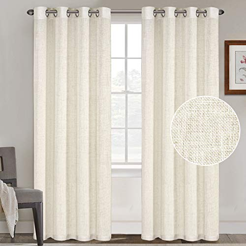 FantasDecor Natural Linen Blended Curtains Linen Curtains for Living Room Grommet Curtain Panels Privacy Added Light Filtering Window Treatments Draperies for Bedroom (2 Panels, 52x84-Inch, Ivory)