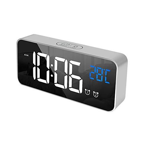 Fangjuhua Espejo LED del Reloj electrónico portátil del hogar del Reloj de la Siesta Inicio USB Voz silencioso de los Controles del Temporizador Música Recordatorio Reloj Despertador, Sivler