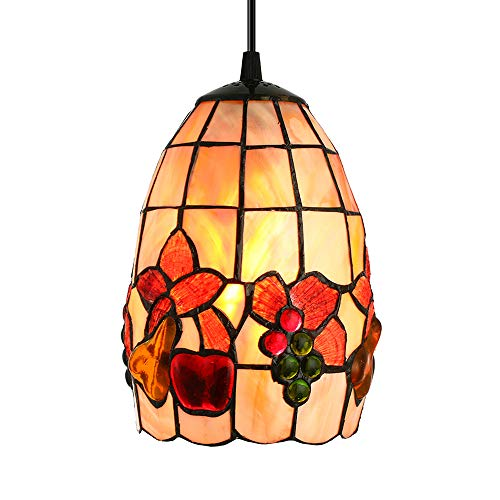 LITFAD Tiffany LED Pendant Lighting Fruit Pattern Shell Bell Shade One Light Mini Pendant Lamp Ceiling Hanging Light for Dining Room Restaurant Coffee Shop Bar