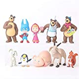 weichuang Adornos 10 PCS/Set Figura de acción de Masha Oso muñeca de Juguete Creativo Lindo de la decoración del hogar Masse Oso Masshe Regalo for los niños Mobiliario (Color : A)