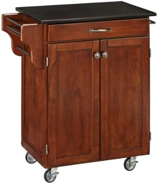 Home Styles Mobile Create a Cart Cherry Finish Two Door Cabinet Kitchen Cart with Black Granite product image