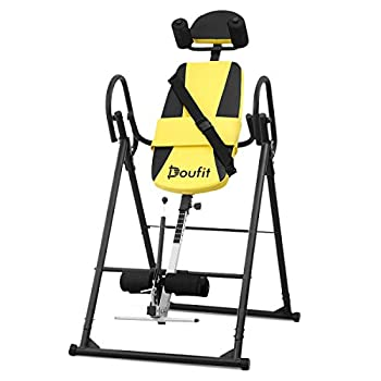 Doufit Inversion Table for Back Pain Relief Foldable Heavy Duty Inverted Back Stretch for Storage Adjustable Inversion Therapy Gravity Table for Home Exercise with Shoulder Holder Safe Belt  IT-03