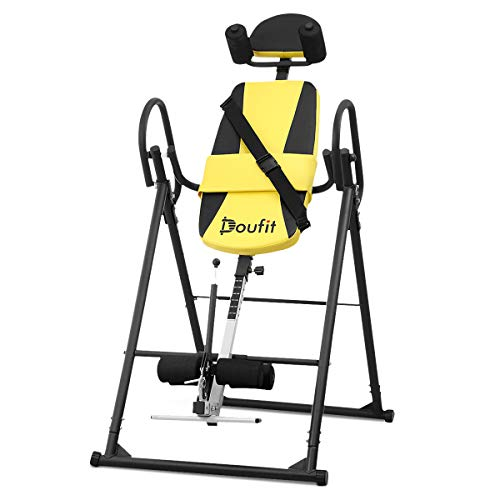 Doufit Inversion Table for Back Pain Relief, Foldable Heavy Duty Inverted Back Stretch for Storage, Adjustable Inversion Therapy Gravity Table for Home Exercise with Shoulder Holder Safe Belt (IT-03)