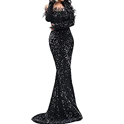 Off Shoulder Long Sleeve High Split Black-1 Sequin Floor Length Dress