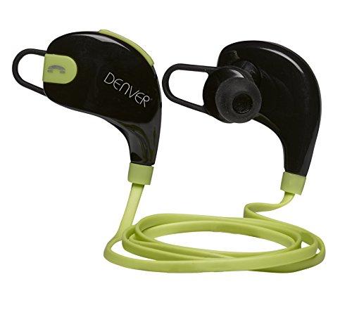 Denver BTE-100 Dentro de oído Binaurale Inalámbrico Negro, Verde - Auriculares (Inalámbrico, Dentro de oído, Binaurale, Intraaural, 80-20000 Hz, Negro, Verde)