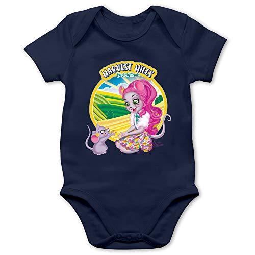 Shirtracer Enchantimals Baby - Harvest Hills - Mayla Mouse - 3/6 Monate - Navy Blau - Mayla Mouse & Fondue - BZ10 - Baby Body Kurzarm für Jungen und Mädchen