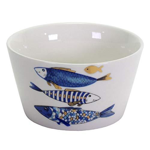 2x Schale Blue Fish Fisch Blau Gold 14cm Geschirr Porzellan Kommunion Konfirmation Taufe