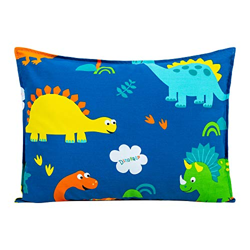 Cottonblue [1-Set] Kids Toddler Pillow with Pillowcase 14x19, One Toddler Pillow with One 100% Organic Cotton Cover Set, Machine Washable Kids Pillow Set for Preschool,Blue Dinosaur