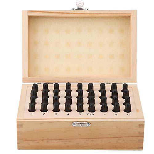 36Pcs Juego de Punzones de 4mm de Acero al Carbono Herramienta de Troquel y Letra del Alfabeto