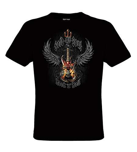 DarkArt-Designs Sold My Soul - Gitarren T-Shirt für Damen und Herren - Musikmotiv Shirt Biker Rocker Metal Fun Party&Freizeit Lifestyle Regular fit, Größe XXL, schwarz