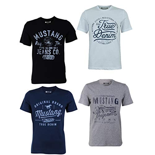 MUSTANG Herren T-Shirt 4er Pack Frontprint O-Neck Rundhalsausschnitt Kurzarm Regular Tee Shirt 100% Baumwolle Schwarz Weiß Grau Blau, Größe:3XL, Farbe:Farbmix (P10)