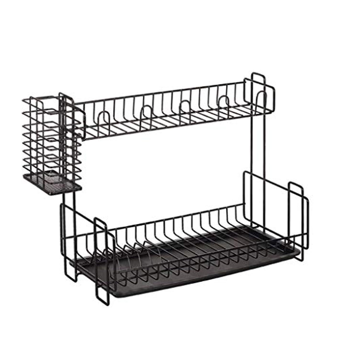RDMZ Dish Drainer Rack Kitchen Sink 2 Layer Utensil Storage Shelf Rust Proof Draining Rack Black 39x20x33cm