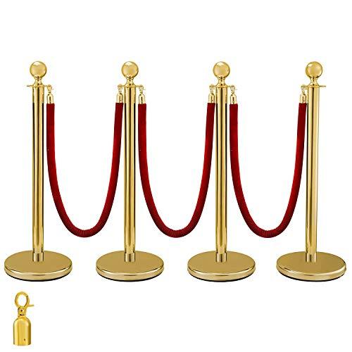 VEVOR Poteau de Separation Poteau de Guidage Corde de Borne en Acier Inoxydable Tête Sphérique et Pilier Doré 3 Cordes de Velours Rouge 4 Poteaux
