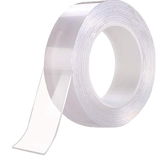 両面テープ,魔法テープ 水洗い可能,繰り返し使用 透明,ナノ 多機能 取り外し可能 残らず 空間節約 滑り止め 防水 耐熱 強力 絨毯/机足固定 写真ポスター貼り付け 多サイズ 家庭/オフィス/寮/学校/会社/地震防止/車輌/工業用 (3cmx2mmx3m)