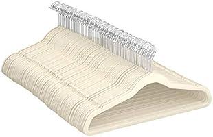 Amazon Basics - Perchas de terciopelo para trajes - Paquete de 100, Marfil