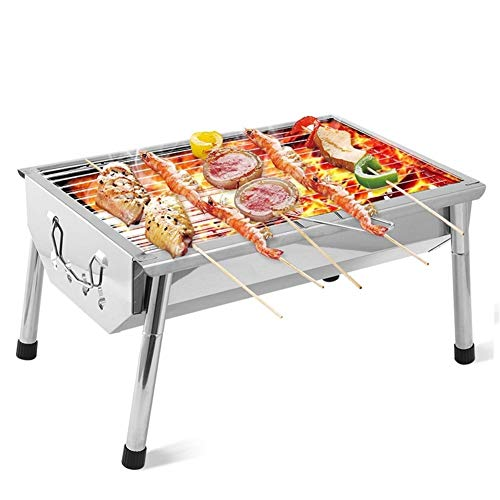 Barbecue Draagbare Mini Barbecue Grill Rack RVS Vouwen BBQ Kolen Fornuis Rooster Kebab Machine voor Outdoor Camping Barbecue