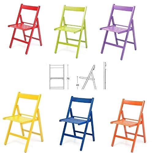 buiani 6 sedie Colorate Pieghevole Sedia in Legno Verniciato richiudibile per Campeggio casa e Giardino (Rosso,Verde,Viola,Giallo,Blu,Arancione)