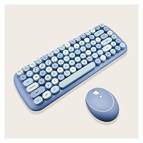 clavier sans fil Combos de souris de clavier sans fil for ordinateur portable ordinateur portable 2.4G Numéro sans fil PAD Rose Girl Clavier et souris Bureau informatique ( Color : Blue keyboard set )