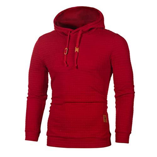 GAOHONGMEI hombres cálido manga larga cuello a cuadros jacquard jersey con capucha superior gruesa de punto sudadera deportiva sudaderas con capucha chaqueta Outwear-rojo-4XL