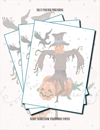 Scary Scarecrow Stationary Paper: Halloween Stationary Paper, Set of 50 Sheets...