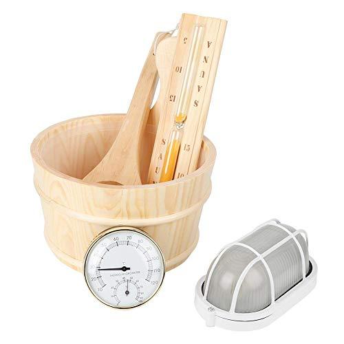 Unbekannt Sauna Werkzeug Set, 5 Teile/Satz Sauna Werkzeug Eimer + Schaufel + Sand Uhr + Thermometer + Explosionsgeschütztes Licht Zubehör-Komfortable Sauna Erfahrung