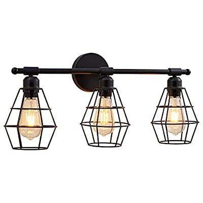 3 Light Bathroom Vanity Light, Metal Wire Cage Industrial Wall Sconce, Vintage Edison Wall Lamp Light Fixture for Mirror Cabinets, Vanity Table, Bathroom, Wall Lighting (Bulb Not Include)