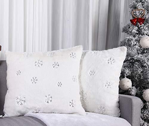 Angel's Pride Weihnachten 2er Set Kissen mit Applikationen Schneeflocke Kissenbezüge Dekorative Kissenhülle Zierkissen Dekokissen Couchkisen für Sofa Restaurant Hotel 45X45cm (Schneeflocke Silber)