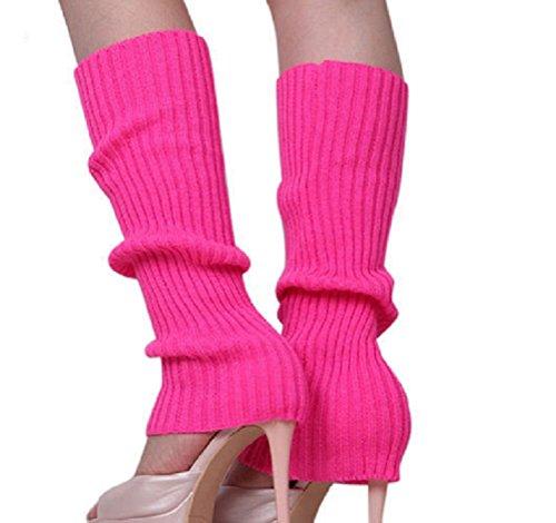 ILOVEDIY 1 Paar Damen Mädchen Stulpen Strick Beinstulpen Legwarmers in vielen Farben (Rose)
