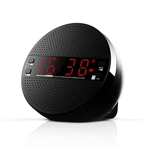 LQCN Digitale Nacht Wake Up Snooze Kunststoffknopf Drahtlose Bluetooth Lautsprecher Wecker Radio Subwoofer Karte USB Headset, Schwarz, 0,6