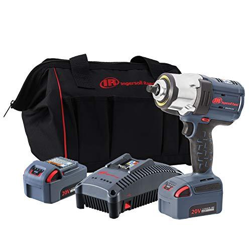 "Ingersoll Rand W7152-K22 20V 1/2"" Drive Cordless Impact Wrench 2 Battery Kit - High Torque, IQv Power Control w/4 Modes, Brushless Motor, LED Light Ring, 20v, Gray"