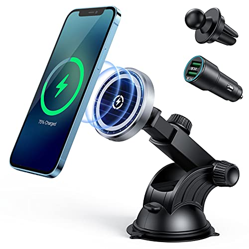15W Magnetic Car Wireless Charger for iPhone 12/12 Pro/ 12 Pro Max/12 Mini, Auto-Alignment Air Vent Dashboard Mag-Safe Car Charging Mount -Compatible with MagSafe Cases(with QC3.0 Car Charger)