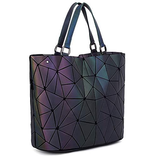 UTO Women Tote Bag Geometric Luminous Purses and Handbags Holographic Reflective Shoulder Bags 2