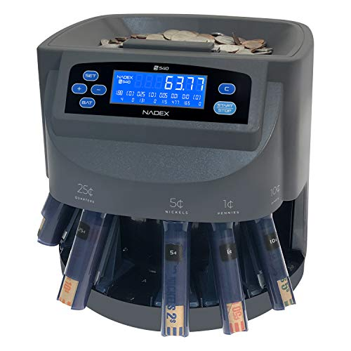 Nadex S540 Pro | Coin Counter, Sorter, and Wrapper | Sorts up to 300 Coins Per Minute | Comes with 48 Preformed Wrappers