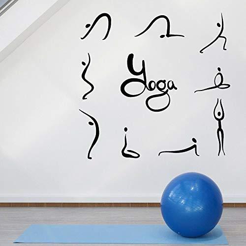 Yoga Pose pegatinas de pared Pose Fitness gimnasio Yoga Studio Interior Art Deco vinilo ventana vidrio calcomanía Mural de vida saludable