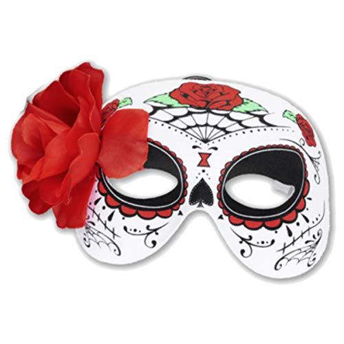 kaiser24 Mexikanische Totenmaske La Catrina Halbmaske Halloween Sugar Skull Tag der Toten Day of The Dead Dia de los Muertos Calavera (Halbmaske Blume (geprintet) (3299056))