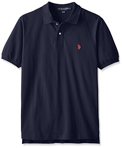 U.S. Polo Assn. Mens Classic Small Pony Solid Pique Polo Shirt - Classic Navy, Large