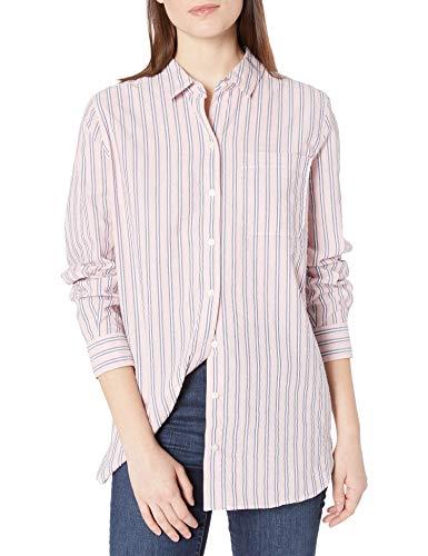 Goodthreads Seersucker Long-Sleeve Boyfriend Shirt Shirts, Rosa/Azul/Blanco Rayas, M