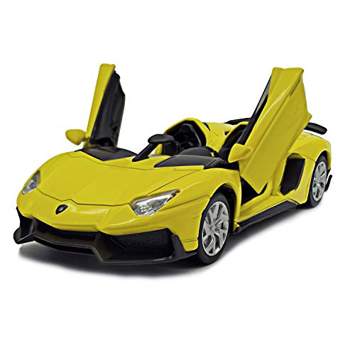 Lmoy 1:32 Scale Diecast Super Sports Car Lambo Aventador J Pull Back Cabriolet Metal Model Toy Car with Light & Sound Gift for Children (Yellow)