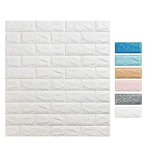 3D Tapete Wandpaneele selbstklebend - Moderne Wandverkleidung in Steinoptik in 5 verschiedenen Farben - schnelle & leichte Montage (10x Stück, Weiß)
