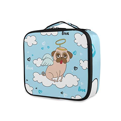 Toilettas, make-uptas, reizen, draagbaar opberggereedschap, cosmetische trekkoffer, portemonnee, grappige cartoon engel mops hond